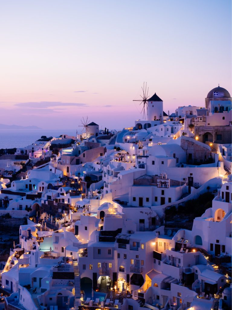 サントリーニ島、イアの夜景