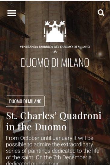 ミラノのドゥオーモ公式HP画面